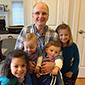 Photo of Thomas A. Pursley III '66 with his grand nieces and nephews Leah, Levi, Logan, and Sophia Glickman. Link to his story.