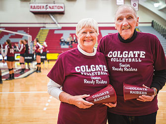 Photo of Ellis '57 and Suzee Rowland, co-founders of Colgate's Senior Rowdy Raiders.